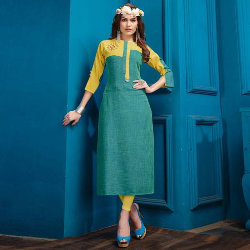 Trendy Turquoise Green Colored Casual Wear Cotton Kurti