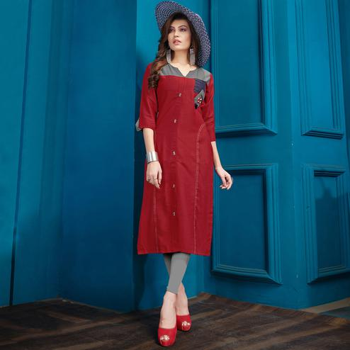 Energetic Red Colored Casual Wear Cotton Kurti
