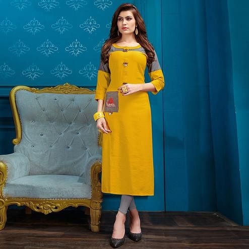 Glowing Yellow Colored Casual Wear Cotton Kurti
