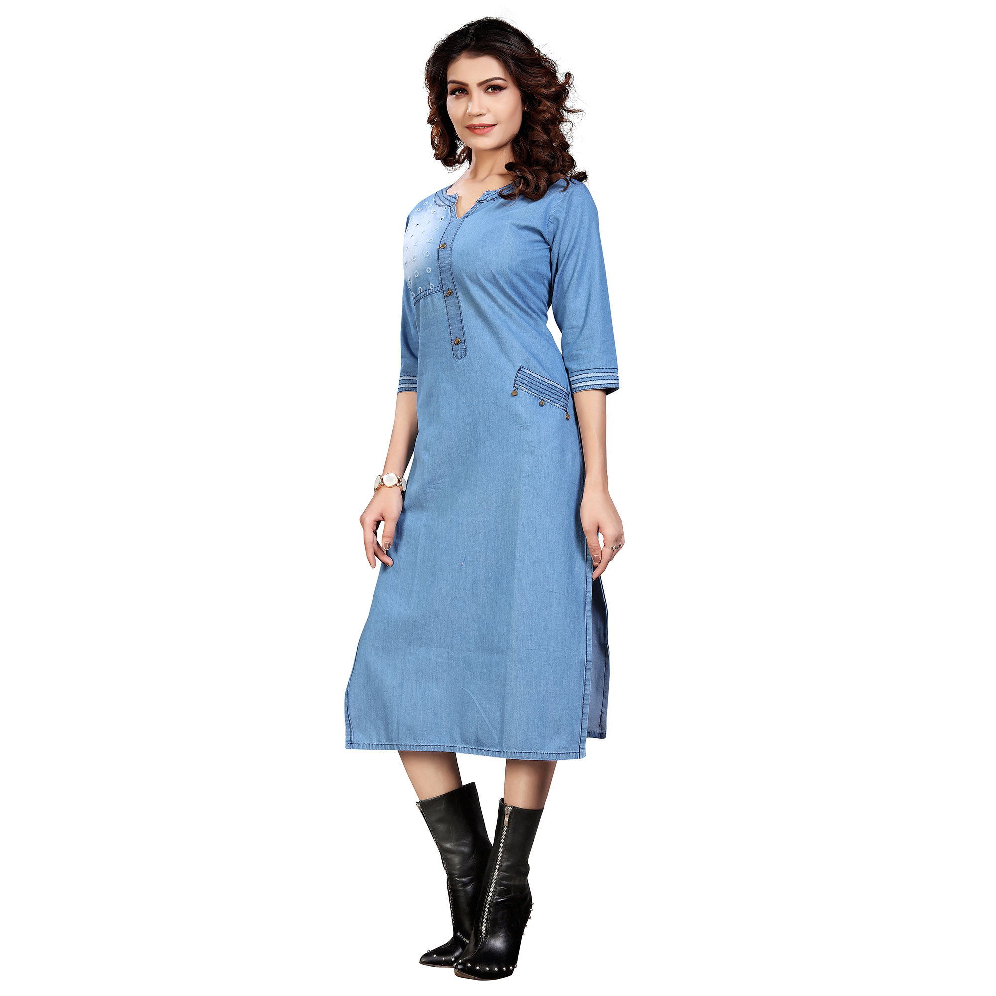 Lovely Steel Blue Colored Casual Embroidered Denim Style Cotton Kurti