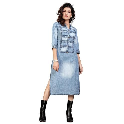 Majesty Light Steel Blue Colored Casual Wear Denim Style Cotton Kurti