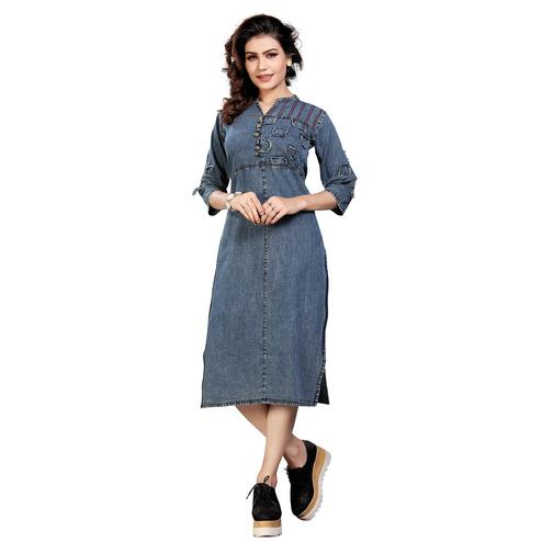 Mesmerising Steel Blue Colored Casual Embroidered Denim Style Cotton Kurti
