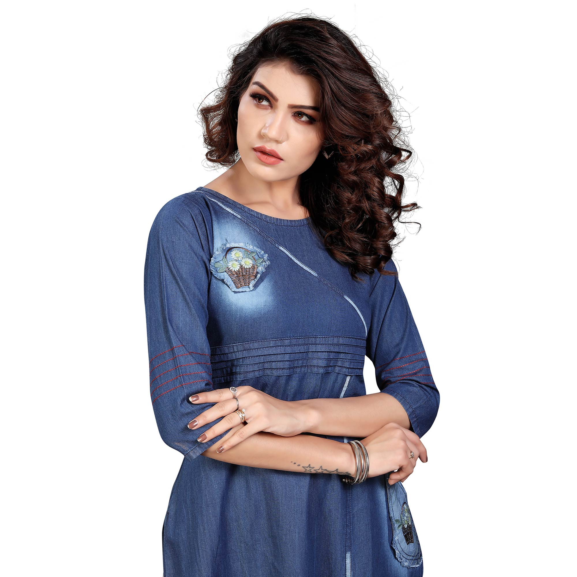 Pleasance Blue Colored Casual Embroidered Denim Style Cotton Kurti