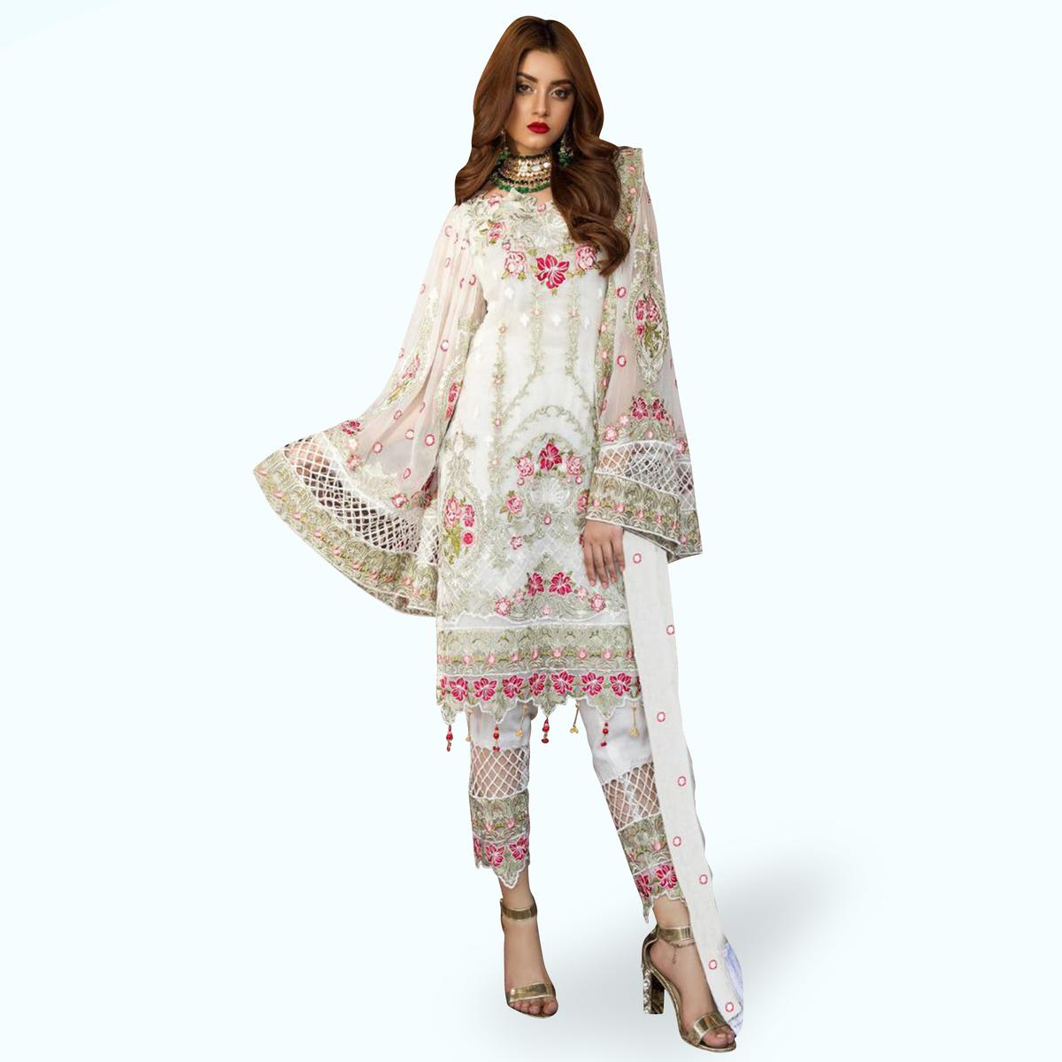 Magnetic White Colored Partywear Embroidered Georgette Pant Style Kashmiri Suit