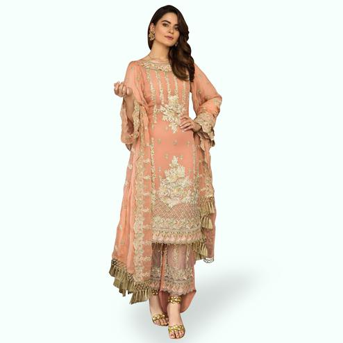 Hypnotic Peach Colored Partywear Embroidered Georgette Pant Style Kashmiri Suit