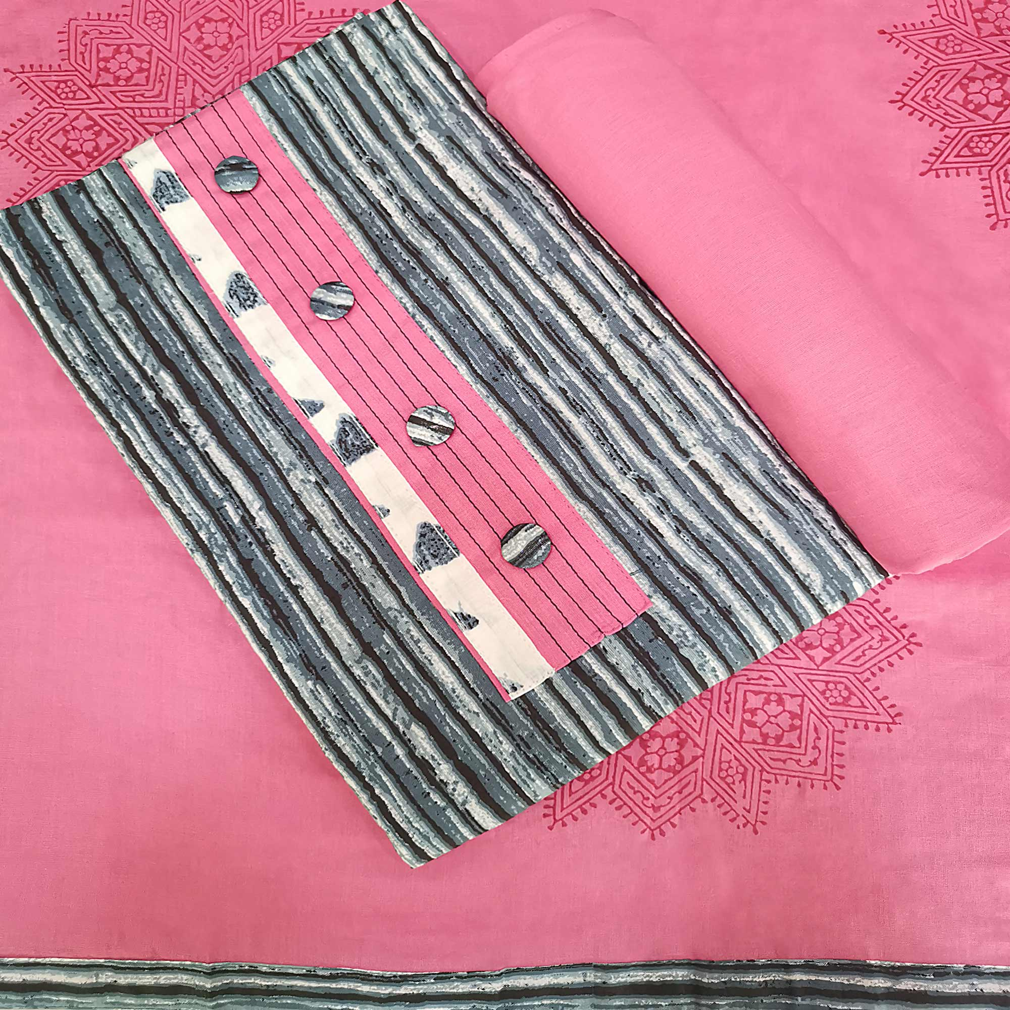 Gorgeous Grey- Pink Colored Casual Printed Pure Cotton Dress Material