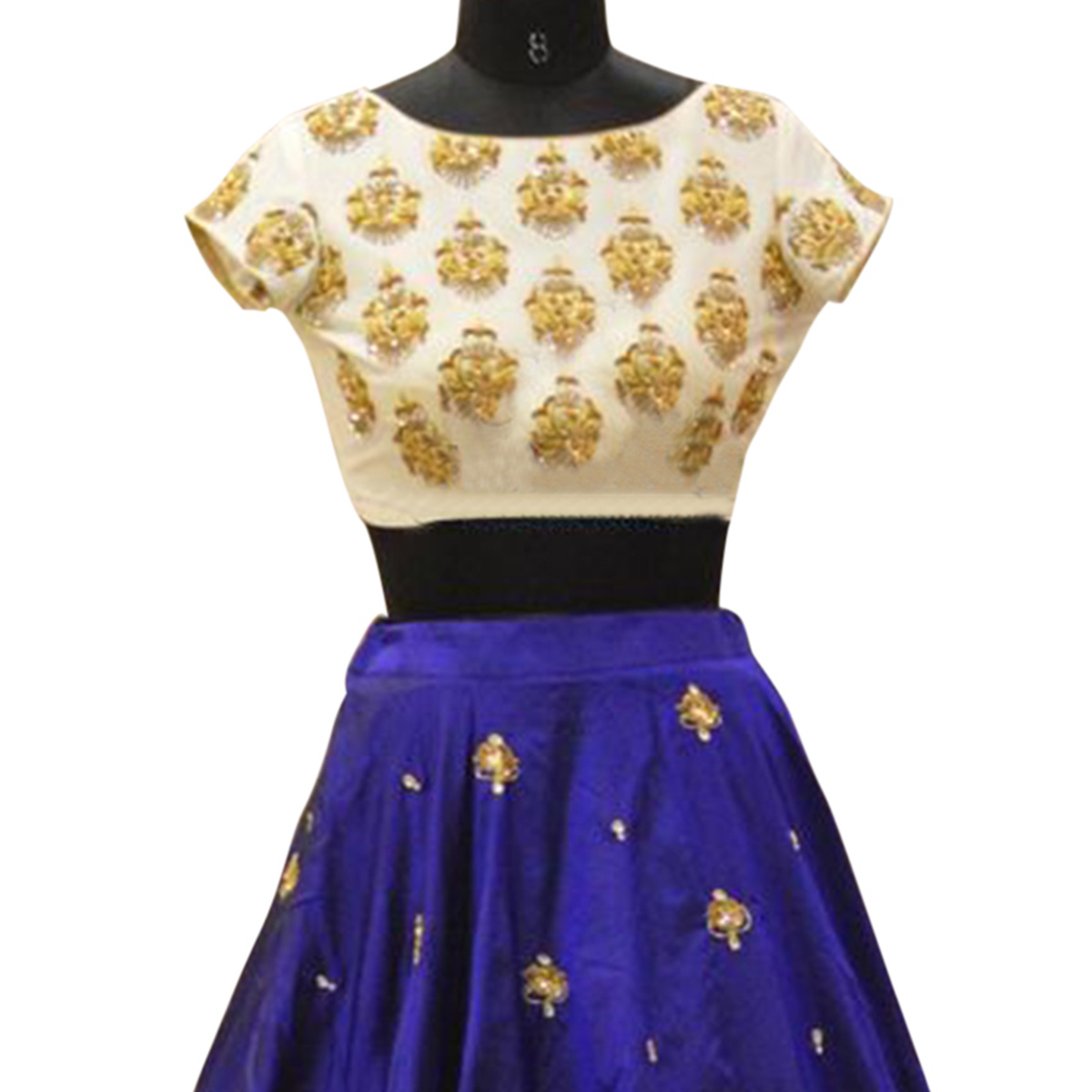 White - Blue Embroidered Work Lehenga Choli