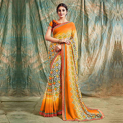Orange Floral Printed Casual Wear Saree