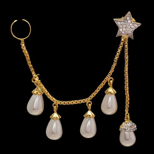Adorning Designer Star Shape Earrings With Pearl Hanging