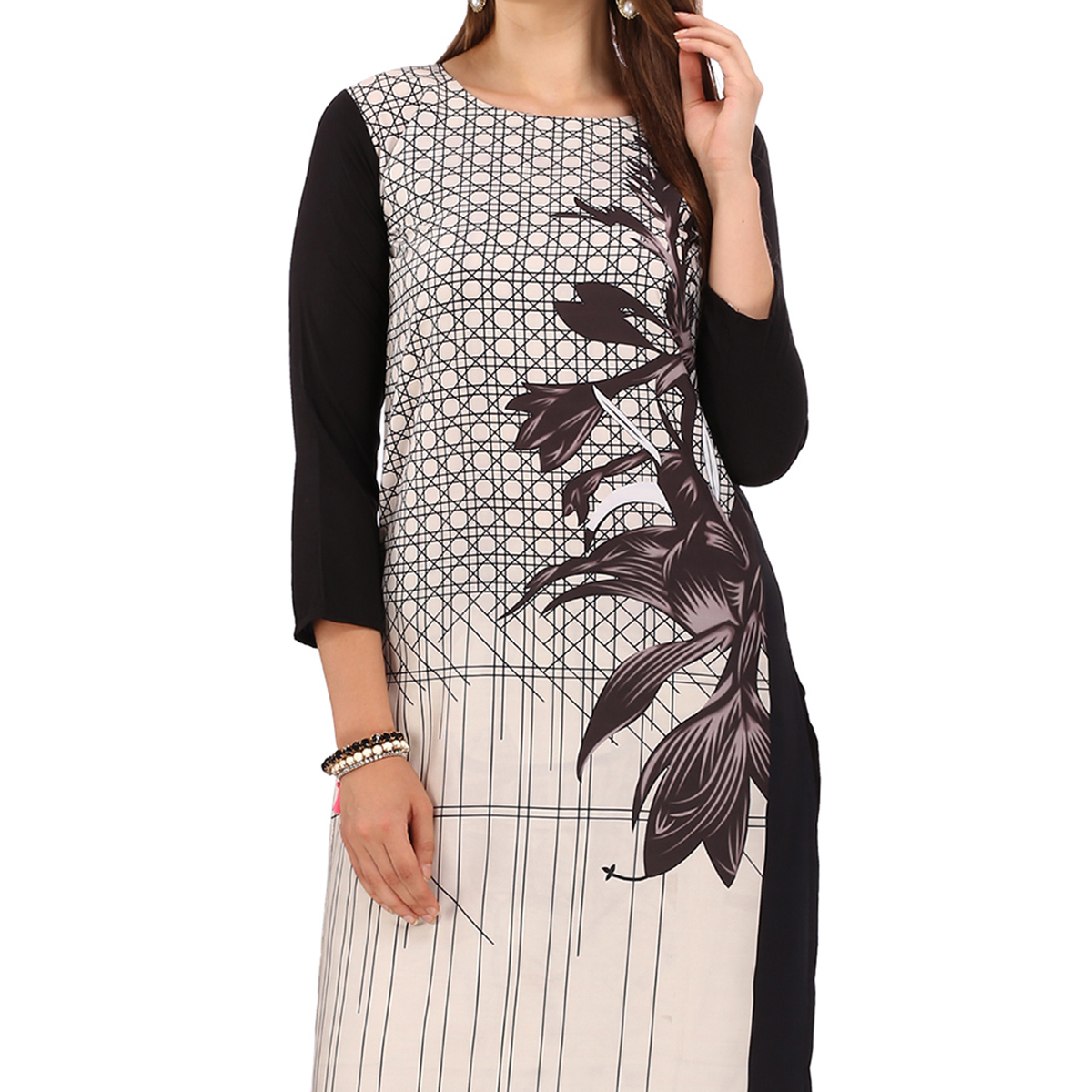 Cream - Black Digital Printed Kurti