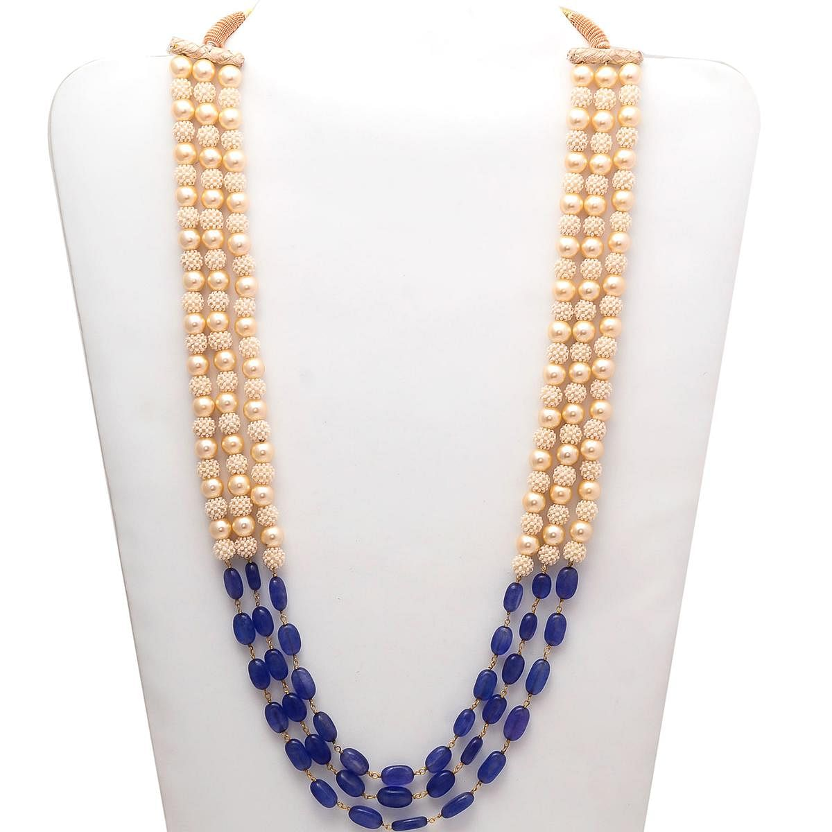 Glorious Mala Necklace With Pearl & Blue Colored Stones