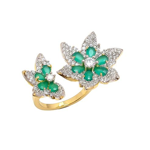 Lovely Designer American Diamond Green Stone Adjustable Ring