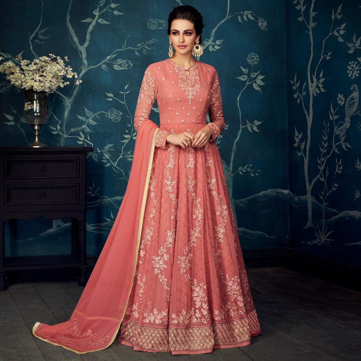 Appealing Salmon Colored Partywear Embroidered Georgette Anarkali Suit