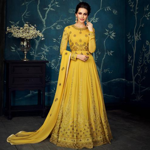 Capricious Yellow Colored Partywear Embroidered Georgette Anarkali Suit