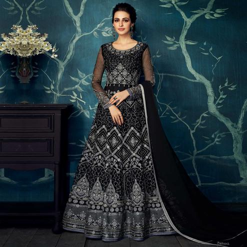 Entrancing Black Colored Partywear Embroidered Georgette Anarkali Suit