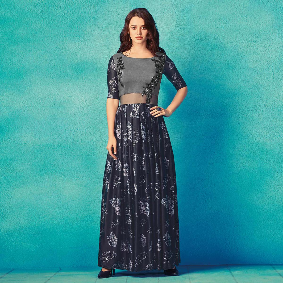Demanding Gray-Navy Blue Colored Partywear Embroidered Satin Kurti
