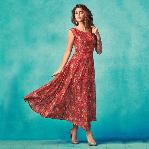 Refreshing Red Colored Partywear Printed Cotton Silk Kurti