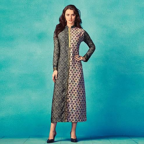 Hypnotic Black-Multi Colored Partywear Printed Cotton Kurti