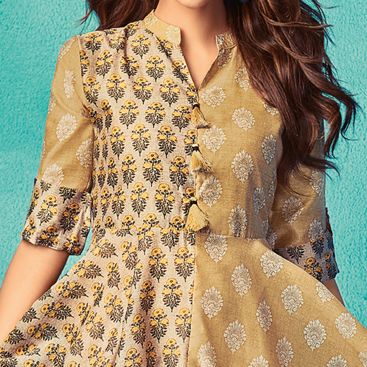 Flattering Yellow Colored Partywear Printed Silk Kurti