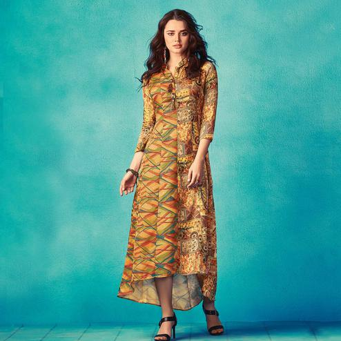 Preferable Yellow Colored Partywear Printed Satin Kurti