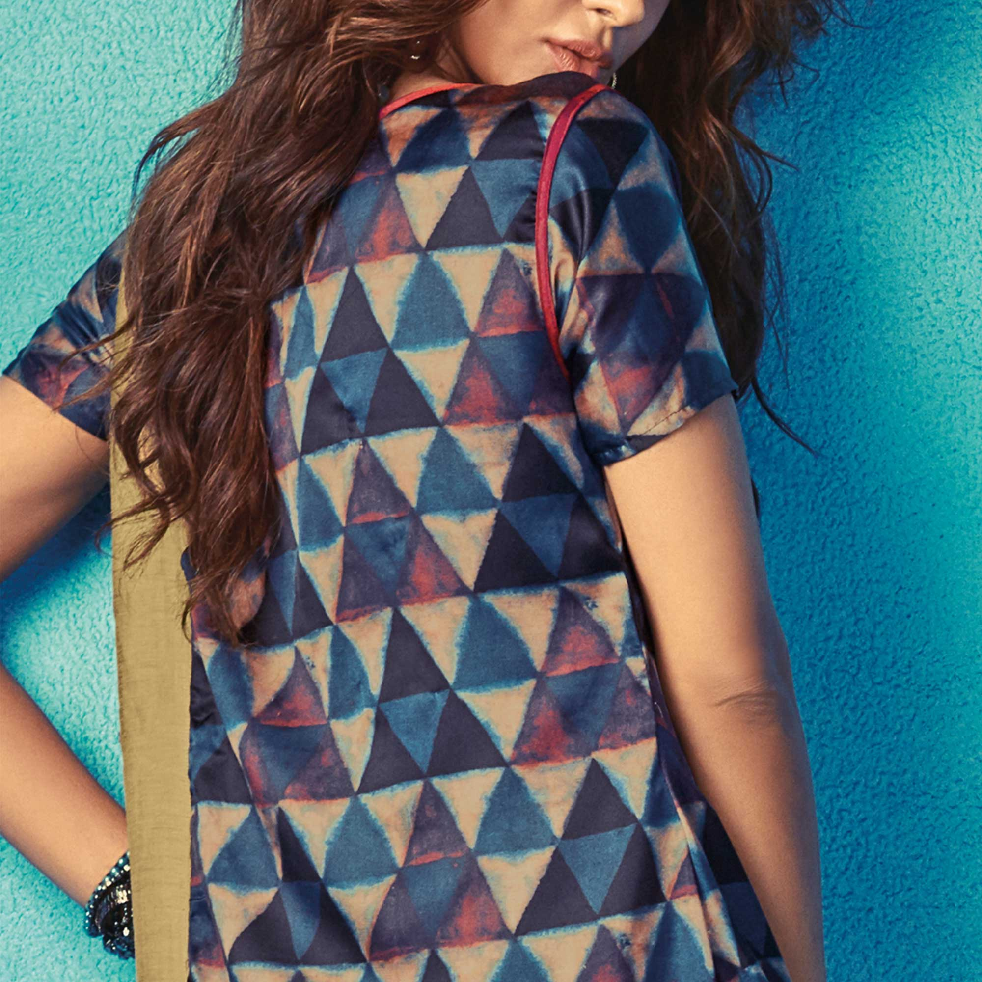 Marvellous Blue Colored Partywear Printed Satin Kurti