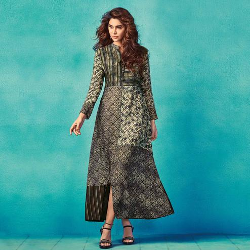 Alluring Black Colored Partywear Printed Cotton Kurti