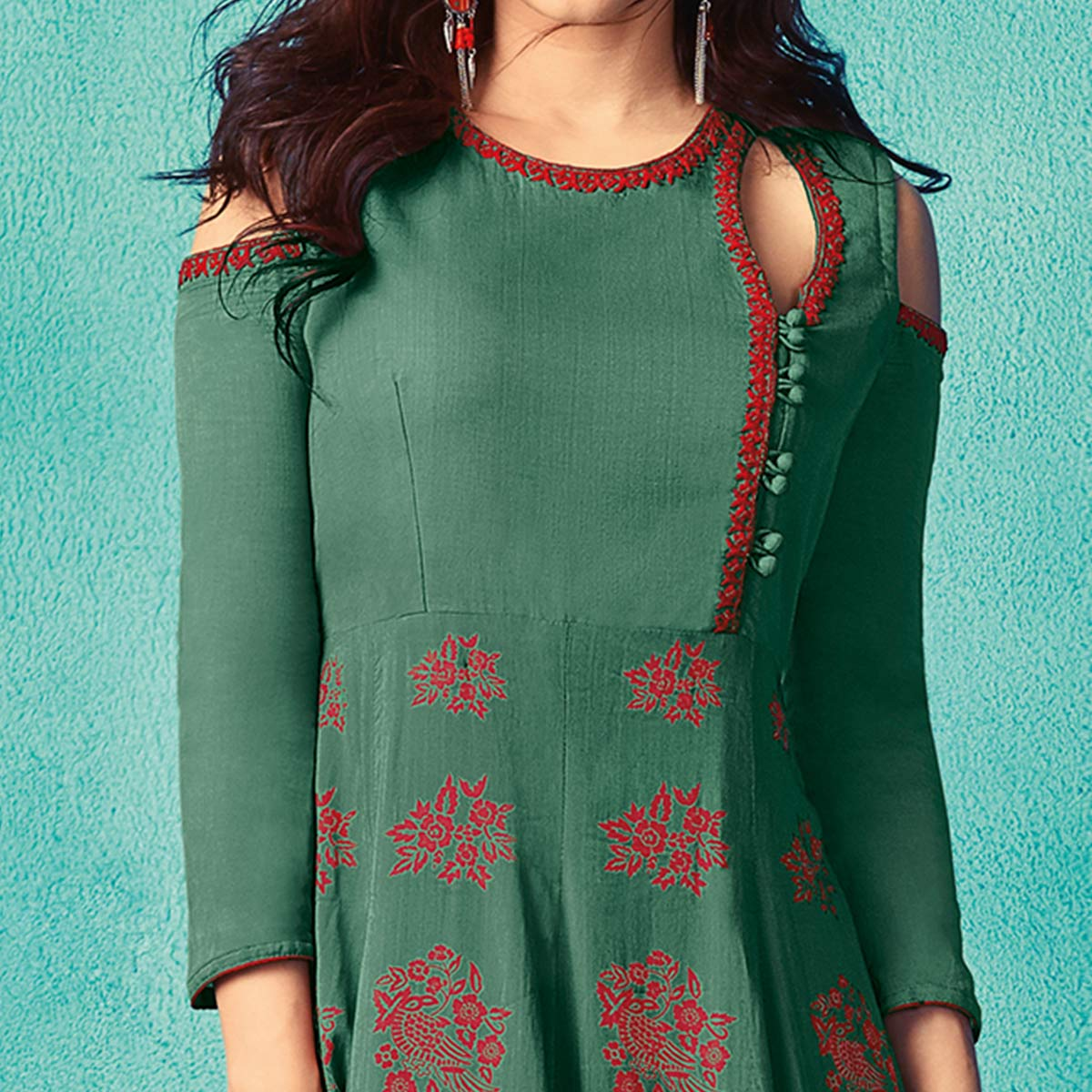 Sensational Turquoise Green Colored Partywear Embroidered Cotton Kurti