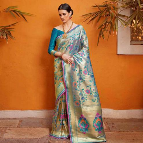 Magnetic Gray Colored Festive Wear Woven Silk Saree
