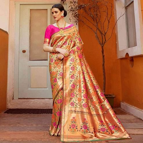 Hypnotic Peach Colored Festive Wear Woven Silk Saree