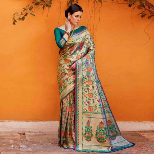 Flattering Beige Colored Festive Wear Woven Silk Saree