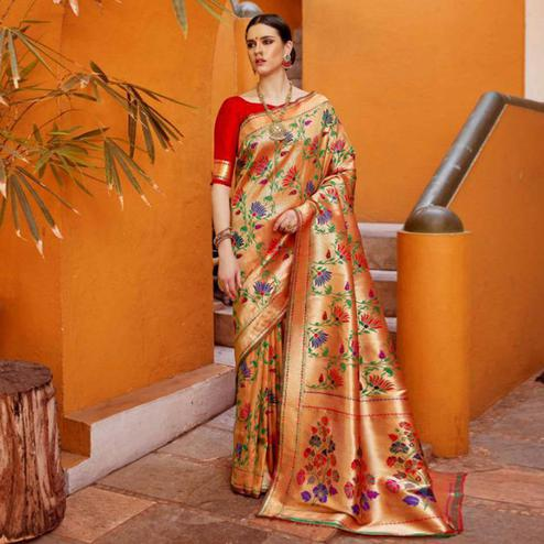 Excellent Peach Colored Festive Wear Woven Silk Saree