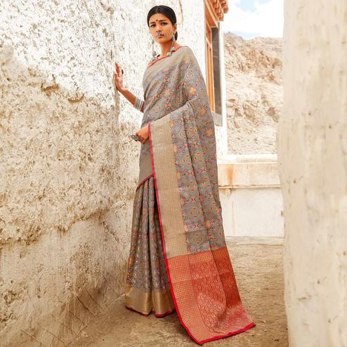 Captivating Slate Gray Colored Festive Wear Woven Silk Saree
