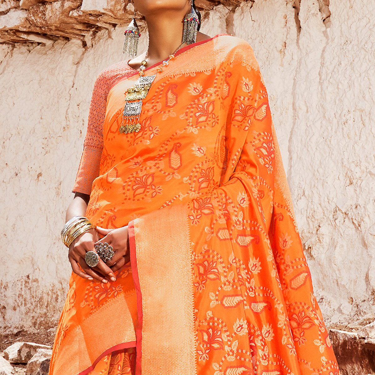 Innovative Orange Colored Festive Wear Woven Silk Saree