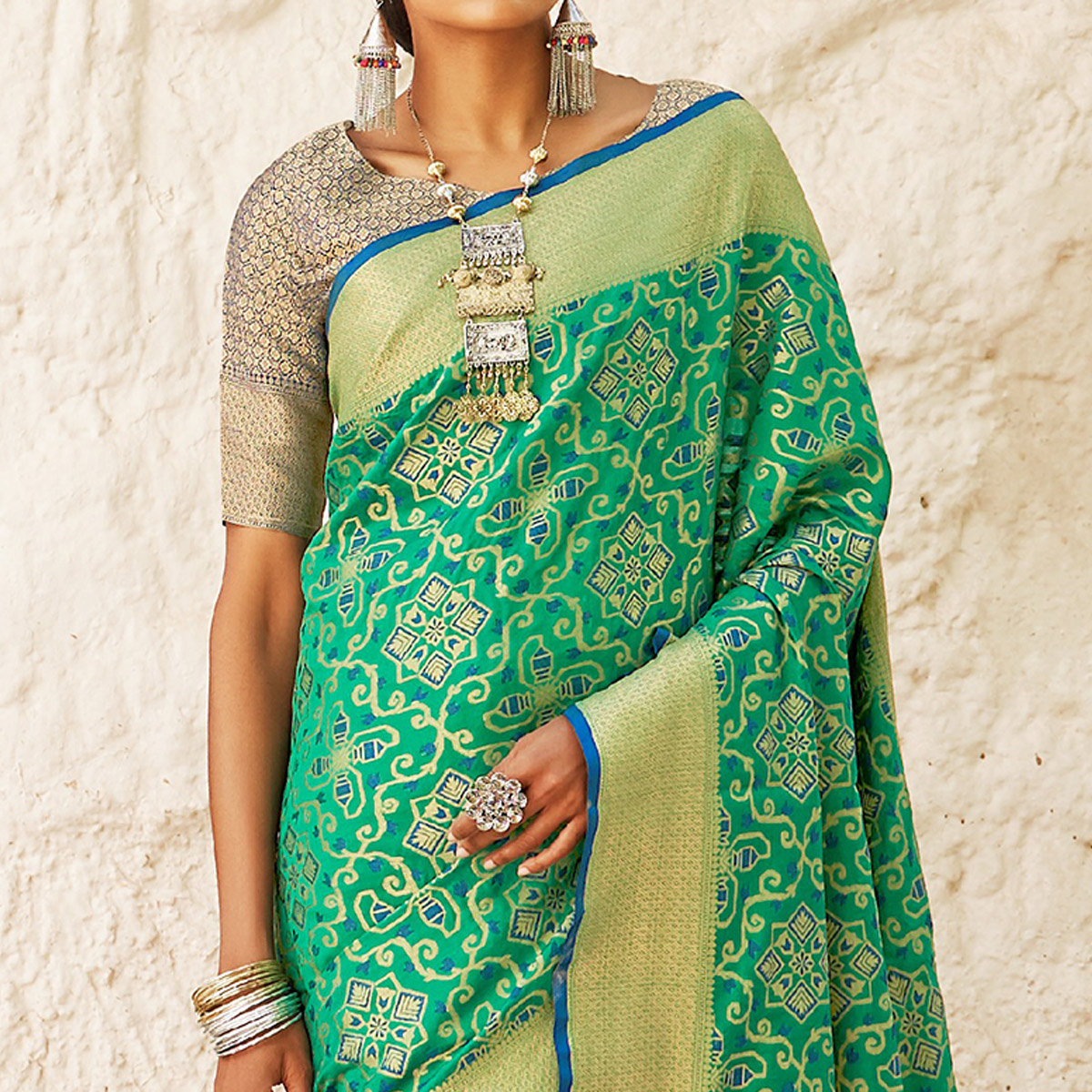 Eye-catching Turquoise Green Colored Festive Wear Woven Silk Saree