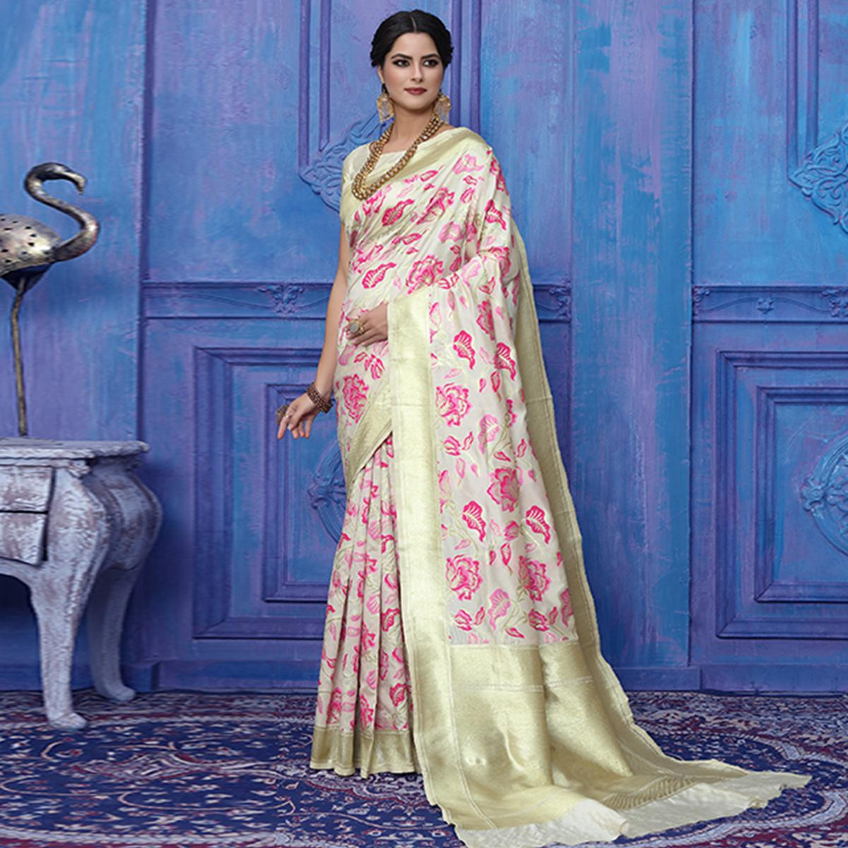Flattering White-Pink Colored Festive Wear Printed Silk Saree