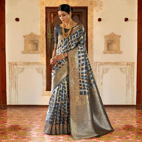 Fantastic Gray Colored Festive Wear Woven Silk Saree