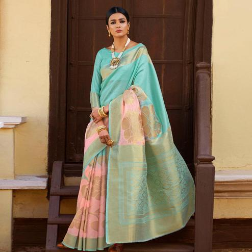 Amazing Aqua Blue-Pink Colored Festive Wear Woven Silk Saree