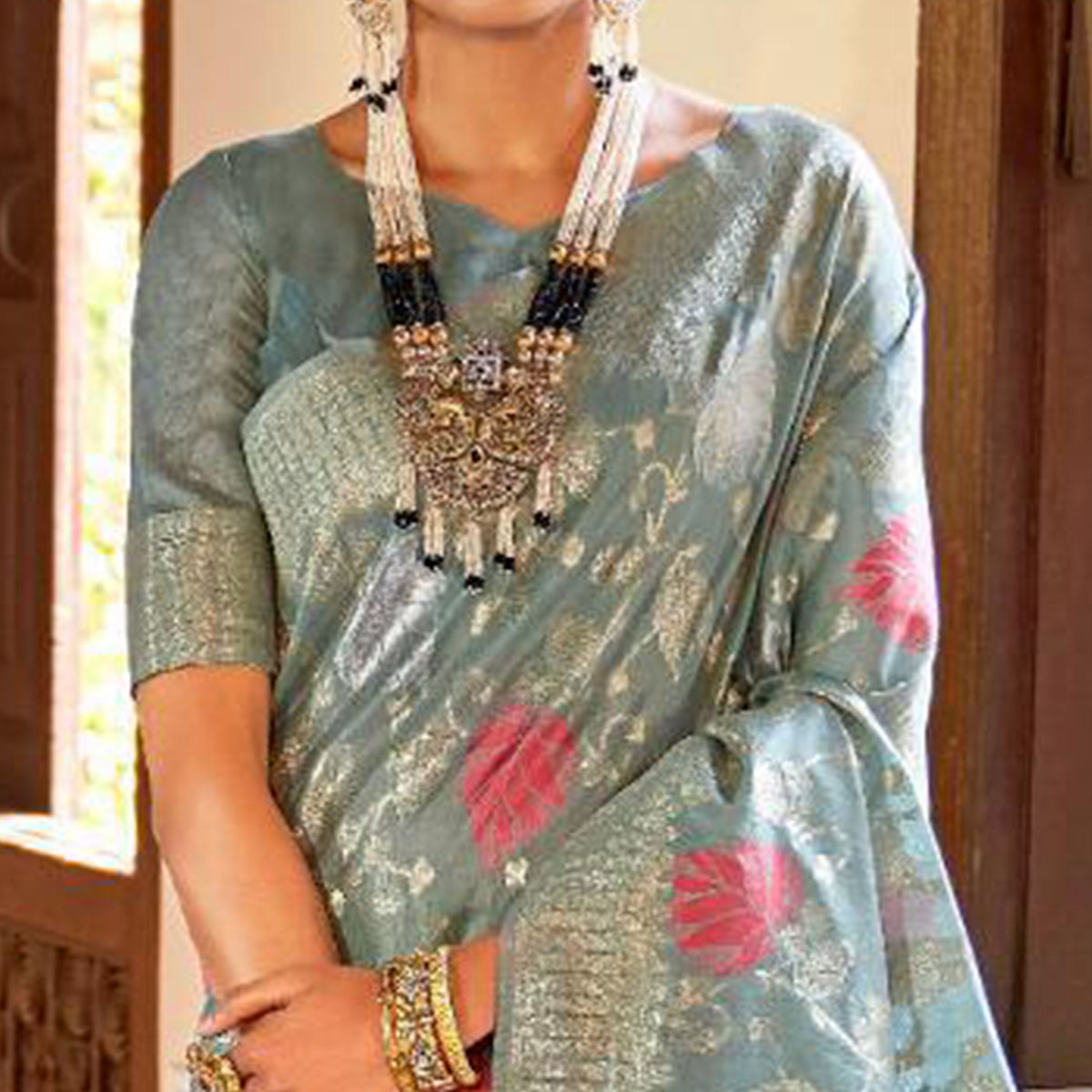 Gorgeous Slate Gray Colored Festive Wear Woven Silk Saree