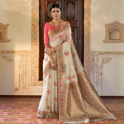 Blissful Cream Colored Festive Wear Woven Silk Saree