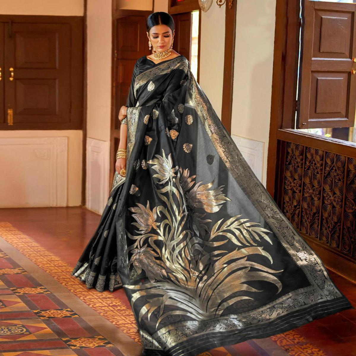 Ideal Black Colored Festive Wear Woven Silk Saree