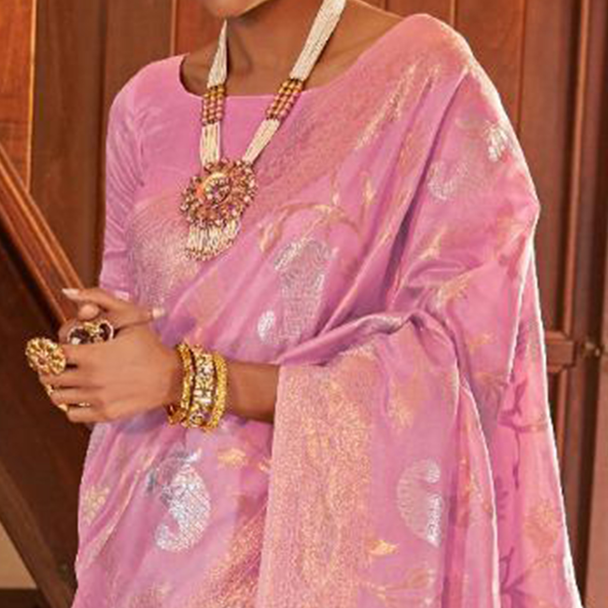 Imposing Pink Colored Festive Wear Woven Silk Saree