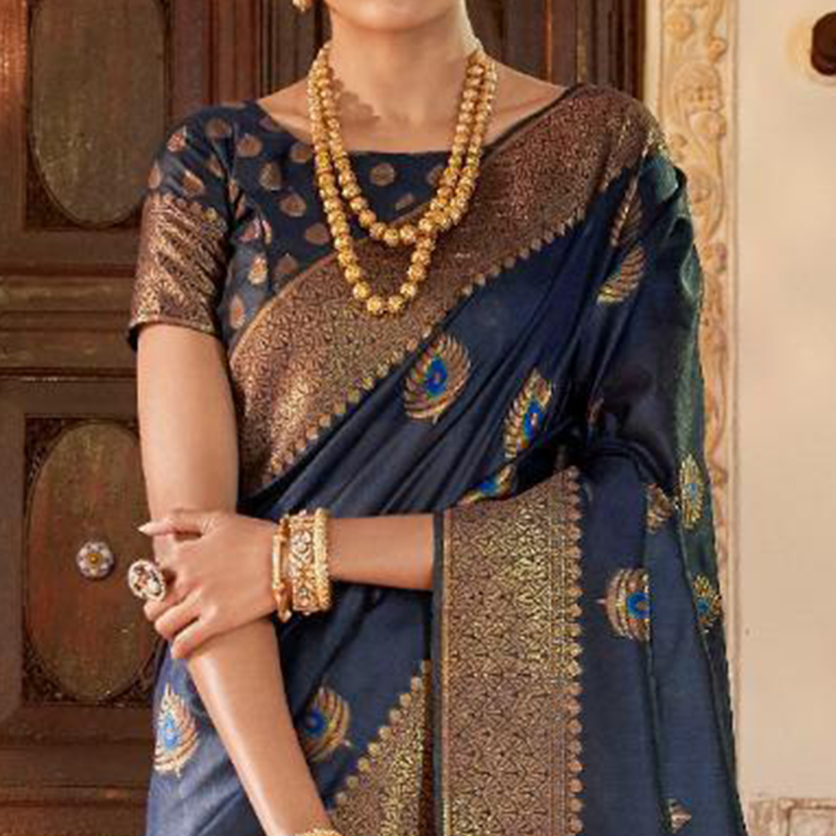 Lovely Navy Blue Colored Festive Wear Woven Silk Saree