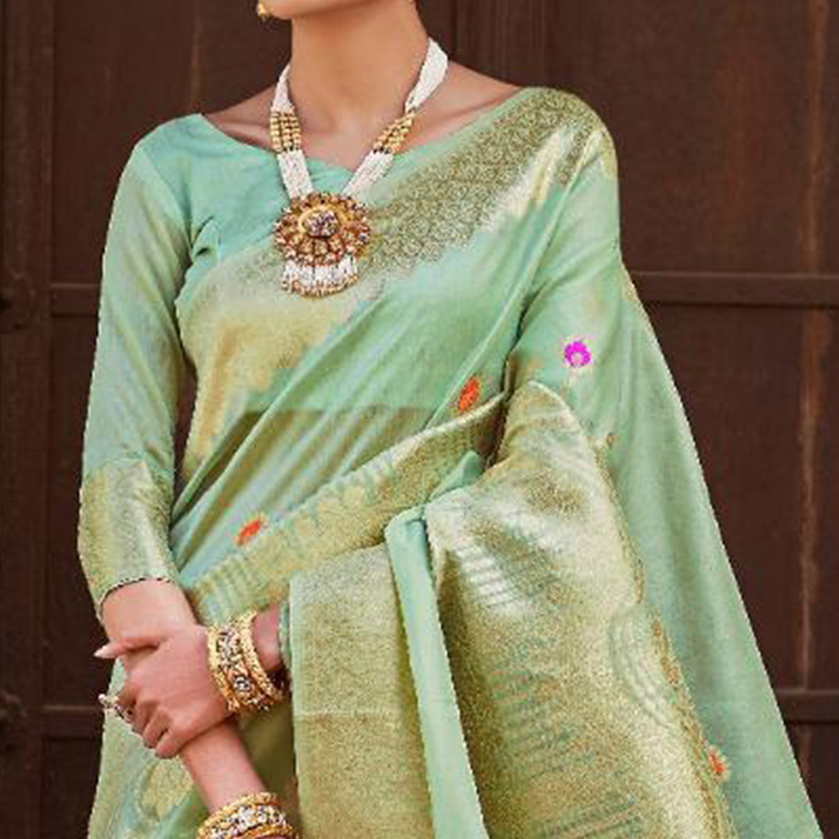 Majesty Aqua Green Colored Festive Wear Woven Silk Saree