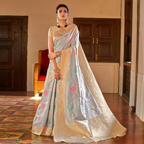 Mesmerising Light Gray Colored Festive Wear Woven Silk Saree