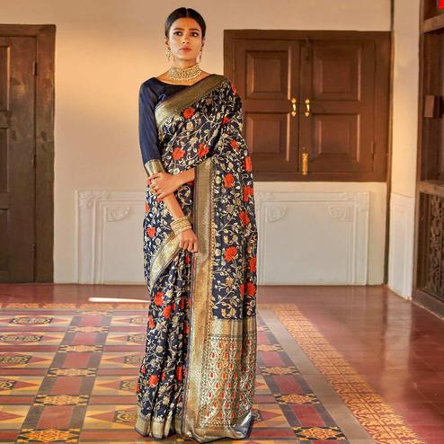 Pleasance Navy Blue Colored Festive Wear Woven Silk Saree