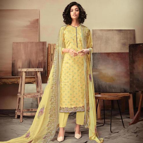 Adorable Yellow Colored Casual Printed Cotton Satin Dress Material