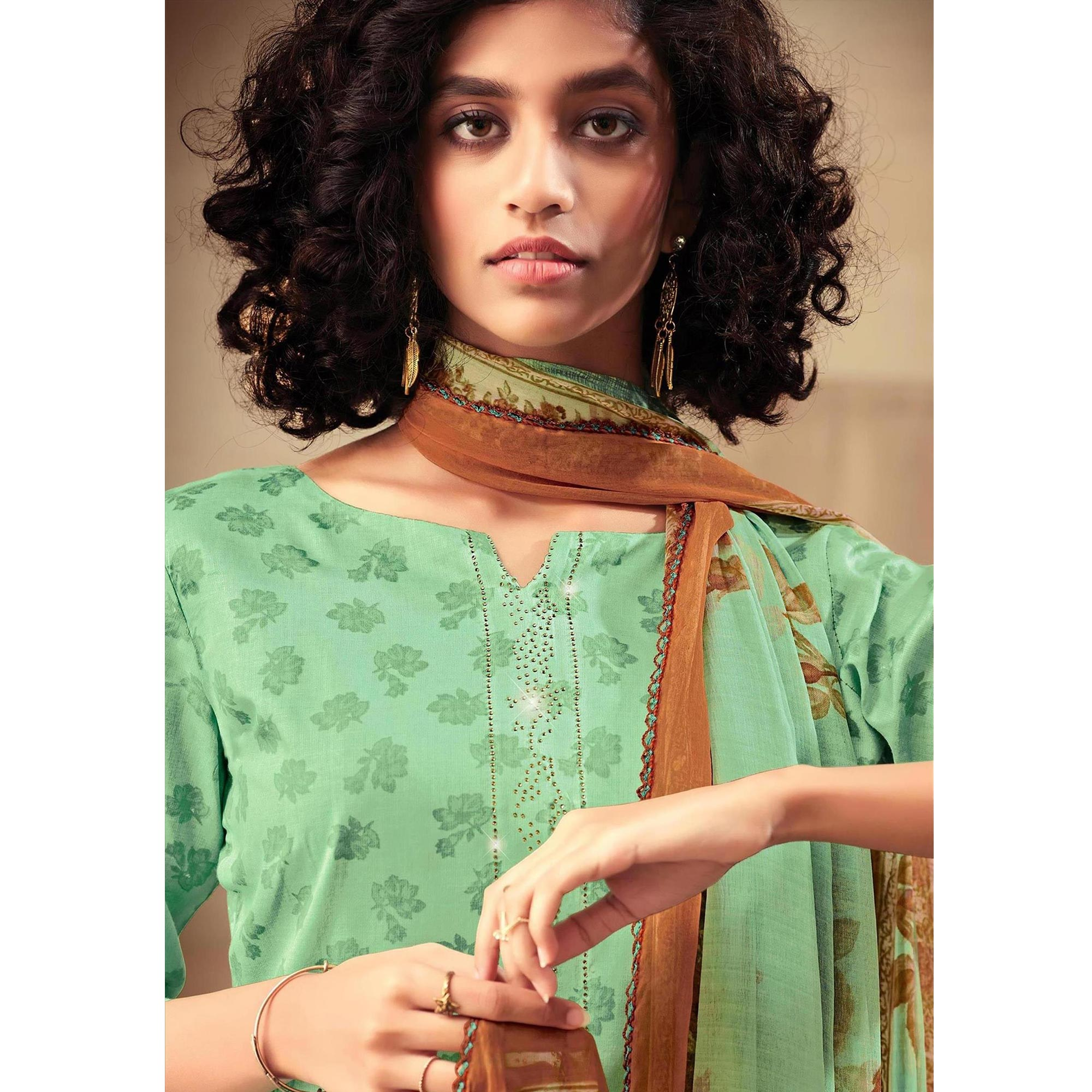 Glorious Firozi Green Colored Casual Printed Cotton Satin Dress Material