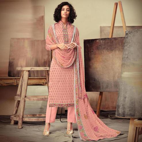 Attractive Peach Colored Casual Printed Cotton Satin Dress Material