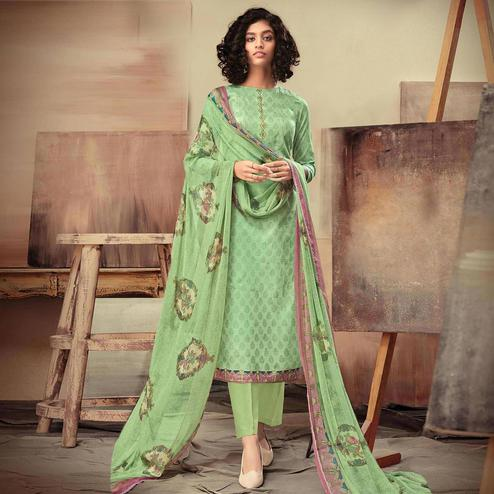 Beautiful Green Colored Casual Printed Cotton Satin Dress Material