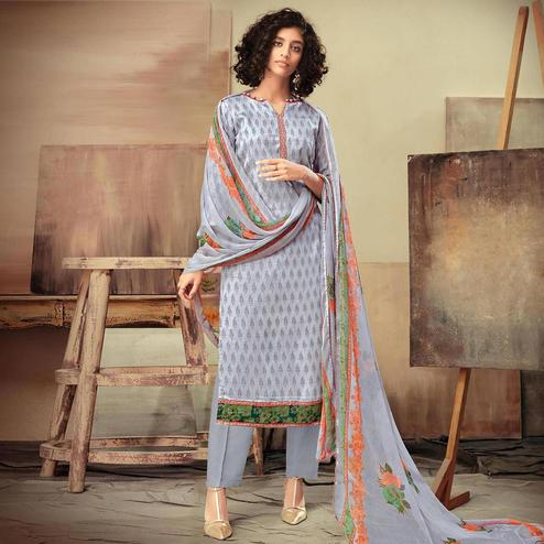 Graceful Bluish Gray Colored Casual Printed Cotton Satin Dress Material